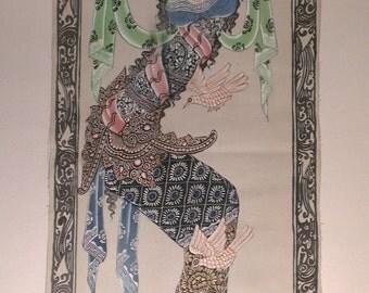 Vintage Balinese Batuan Canvas Painting, Balinese Traditional Painting, Balinese Dancer, Ida Bagus Setiawan Signed Painting, Free Shipping!