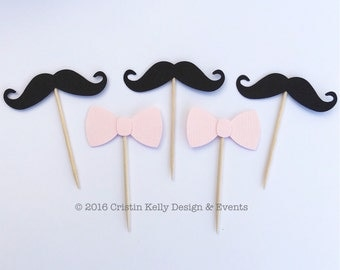 12 Black Mustache & Light Pink Bow Tie Cupcake Toppers. Birthday Party. Baby Shower. First Birthday. Gender Reveal Party Decor.