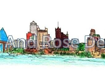 Memphis Skyline - hand drawn, Instant Download
