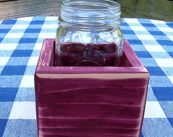 Centerpiece Box - Mason Jar Holder, 1-jar size - Burgundy - Organizer, Gift Box