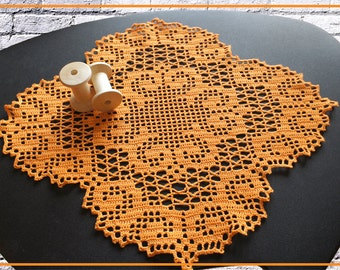 Crochet Doily filet,lace doily handmade,orange