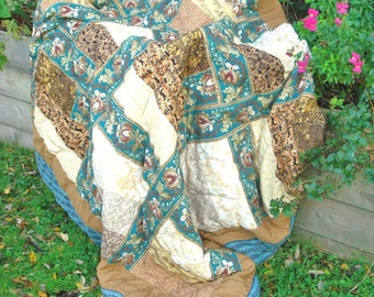 Turquoise & Gold Quilt, SPECIAL OFFER PRICE Handquilted, Single