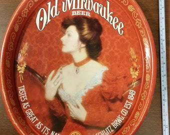"""Vintage Old Milwaukee Beer """"Lady in Red"""" Metal Serving Tray made by Schlitz Brewing Co."""