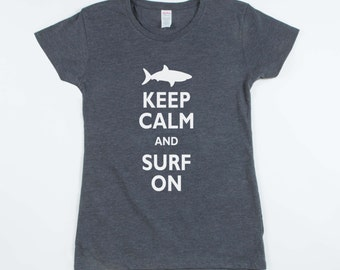 Shark T Shirt - Keep Calm and Surf On Shark Shirt (Womens)