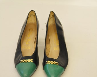 Vintage Women's Blue and Turquoise  Low Heel Shoes Leather Shoes Size 6 b Van Dal Made In England