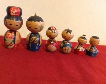 SALE - Vintage MIJ Miniature Kokeshi Family