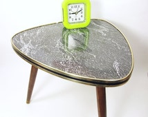 Vintage Tripod, 60s Coffee Table Plant Stand Marble Mid Century modern flower table stool coffee wood GDR Germany