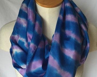 Blue and Purple Silk Scarf, Blue Silk Scarf, Purple Scarf, Blue and Purple Scarf, Summer Scarf, Spring Scarf, Purple Silk Scarf