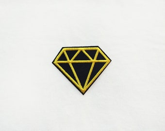 1x black & gold DIAMOND patch love glam rockabilly Iron On Embroidered Applique tattoo rock pinup luxuous stone
