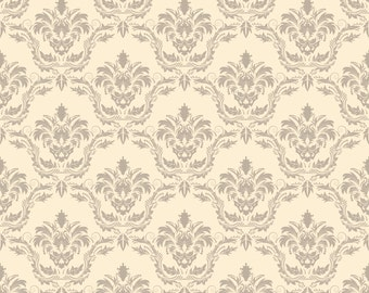 Yellow Damask Backdrop - damask wallpaper - Printed Fabric Photography Background G0977