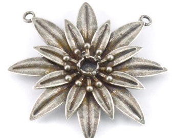 5 PCS 24ss Flower Pendant base with two top side loops for jewelry making