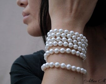 MELISSA • Multi Variation Glass Pearl Сhainlet with Silver 925 Clasp You can Use it as a Necklace, Bracelet, Belt