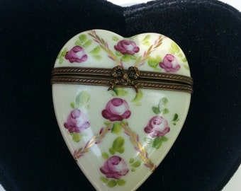 Limoges Heart Shaped Flowered Box
