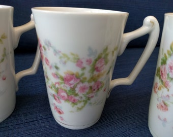 Set of 4 Porcelain Mugs with Pink Flowers, Made in Austria, Useable, Collectible, Vintage