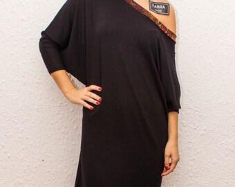 Oversized Black Dress / Draped Long Sleeves / Off Shoulder Back / Drop Shoulder Dress by FabraModaStudio / DO100