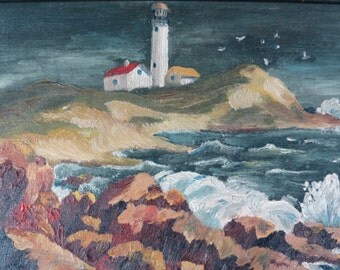 Vintage Seascape, Oil Painting, Lighthouse Painting
