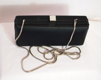 Bechamel Black Satin Box Clutch with Silver Snake Chain