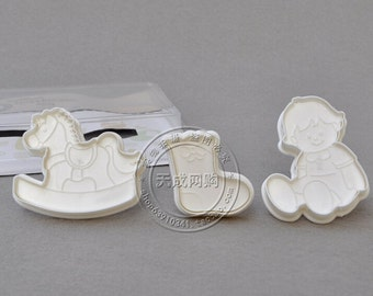 Baby Rocking Horse and Sock Plunger Cutter Set with  Hand Press Stamp - Biscuit Fondant Mold - Cake Sugar Craft- DIY - Model A - PC0031