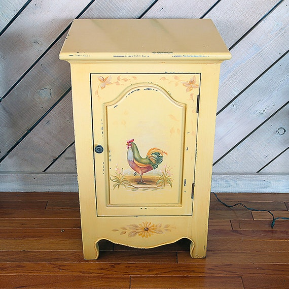 Hand Painted ROOSTER STYLE CABINET Farm Country By DSGAntiques