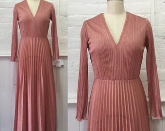 1970's Dusty Pink Pleated Maxi Dress
