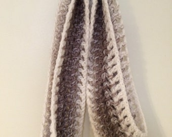 Brown and White Crocheted Scarf