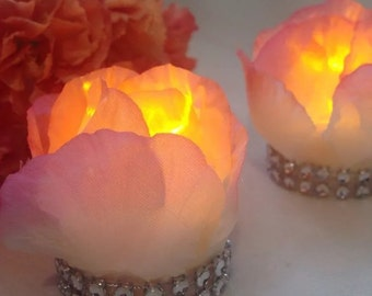 4 Rose Electric tea light with diamanté trim with white and pink tip petals