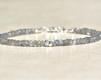Labradorite Bracelet, Labradorite Gemstone, Sterling Silver, Natural Stones, Gray Beads, Beaded Labradorite Jewelry, Gift for Her