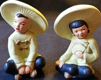 Universal Statuary Corp 1952 Chalkware Asian Boy And Girl Figures