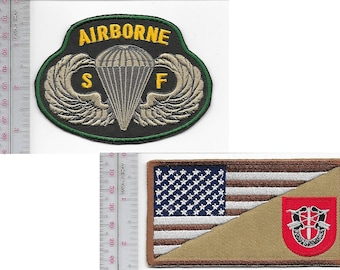 Green Beret US Army 7th Special Forces Group Airborne & SF Parachutist Wings