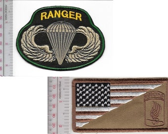 Ranger US Army 173rd Airborne Infantry Brigade ABN & Ranger Parachutist Wings Badge