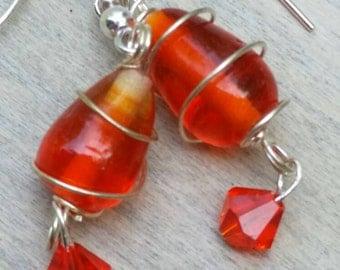 Orange beaded wire wrapped earrings