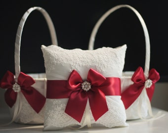 TWO Flower Girl Baskets + ONE Red Ring Bearer Pillow \ Ivory Marsala Bearer \ Red Wedding Baskets \ Marsala Wedding Pillow Baskets Set