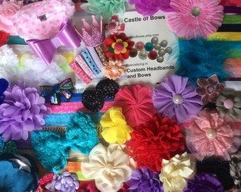 Baby Headband Kit baby shower 35 DIY Headbands- Over 125 Pieces BabyShower  Shabby Flowers - DIY Headband Supplies Craft Activity Bow Bar
