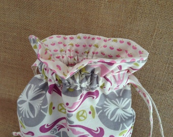 Drawstring bag,  lined, toiletry bag, lingerie bag, cosmetic bag.
