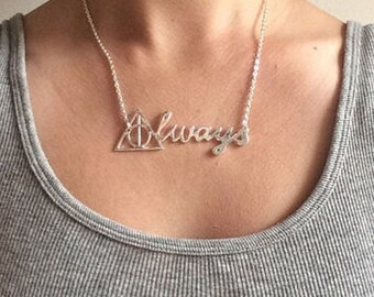 Harry Potter Deathly Hallows Necklace, Always Necklace, Harry Potter Always Necklace, Harry Potter Inspired Necklace, Harry Potter Jewelry