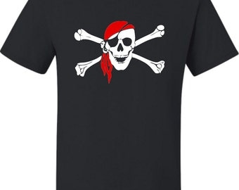 Adult Jolly Roger Skull And Crossbones Pirate Flag T-Shirt