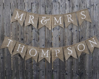 Mr. & Mrs. Burlap Banner, Personalized Wedding Sign, Wedding Banner, Rustic Wedding Decor, Sweetheart Table Sign, Burlap Wedding Sign