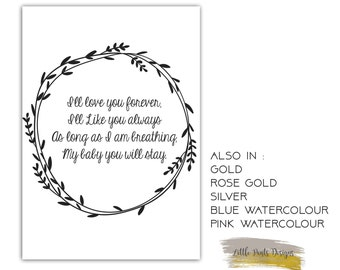 """Digital Decor Print """"I will love you forever"""" Nursery Love Always GOLD rose silver watercolour watercolour pink blue A4 A3 download"""