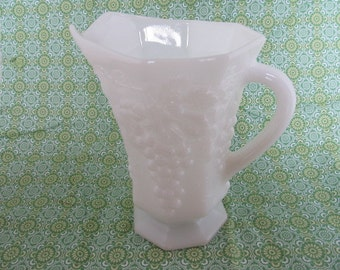 VINTAGE grape motif MILK GLASS pitcher