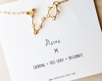 Pisces Necklace, pisces constellation necklace, pisces jewelry, constellation necklace, astrology necklace, zodiac jewelry, 14k