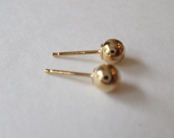 14K Gold Stamped and Signed Small Ball Stud Earrings.