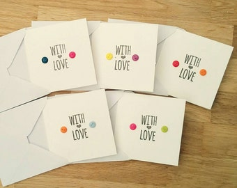 "Pack of 5 handmade ""with love"" cards - blank inside - any occasion"