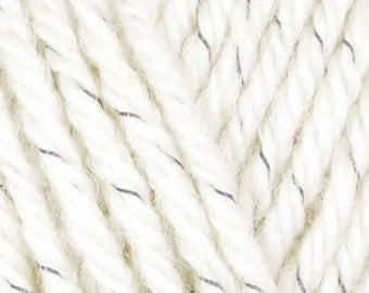 Reflective yarn (cream / natural) to be visible at night/in the dark, Aran weight wool