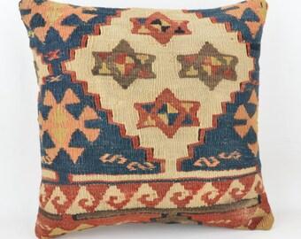 Only wool kilim cushion 40 x 40 cm, 16x16inc, home decor, decorative pillow, K16