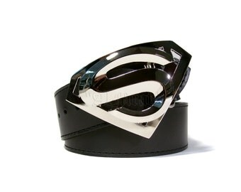 Black real leather belt decorated with a big metal buckle - the symbol of Superman