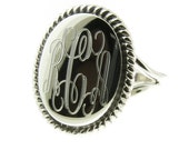 925 Sterling Silver High Polished Monogram Oval with Rope Edge Signet Ring