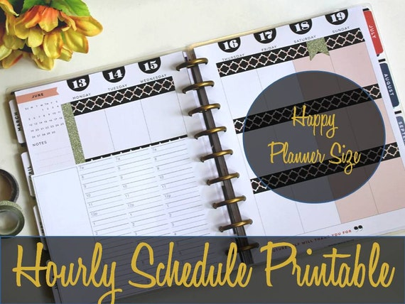 Happy Planner Hourly Insert Hourly Schedule Create 365
