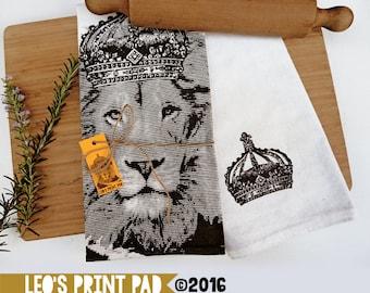Hand screen printed 'King Leo' Linen Tea Towel