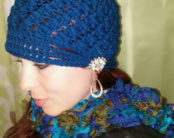 Cross puff stitch beanie