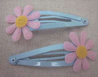Set of 2 Blue and Pink Daisy Snap Clips for Baby Girl, Toddler, Girl, Gift, Non Slip Grip, Ready to Ship